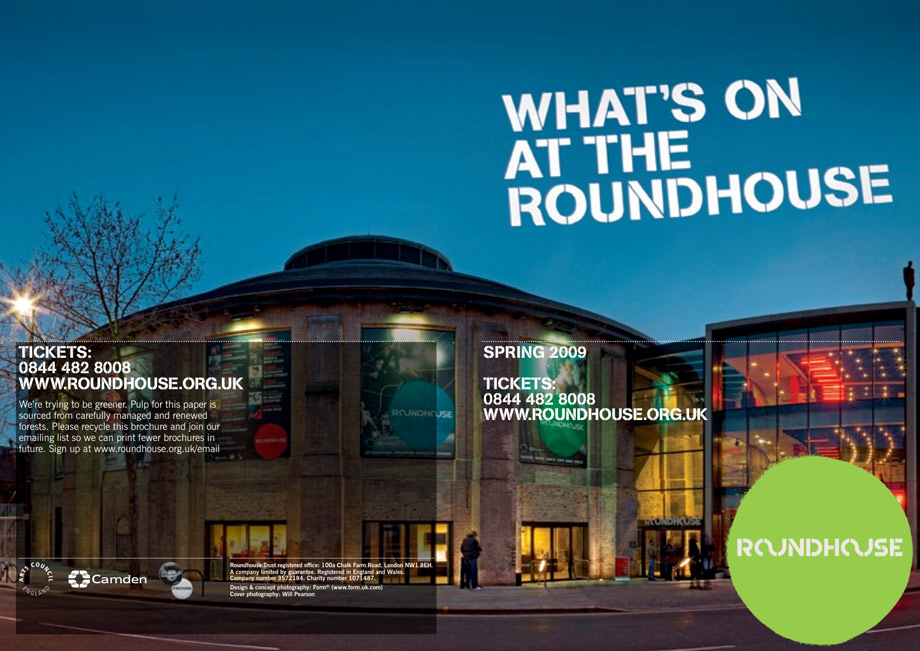 Roundhouse Brochure - Front Cover Photography by Will Pearson www.willpearson.co.uk