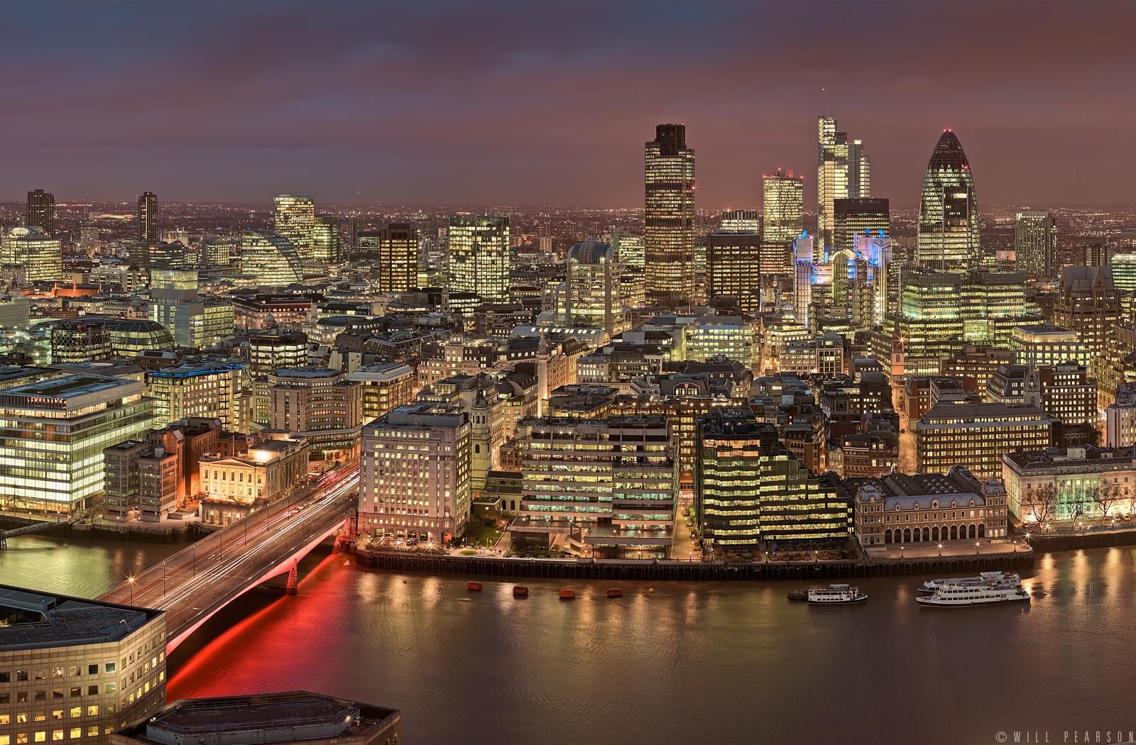 Shard View At Night Panorama Will Pearson Panoramic