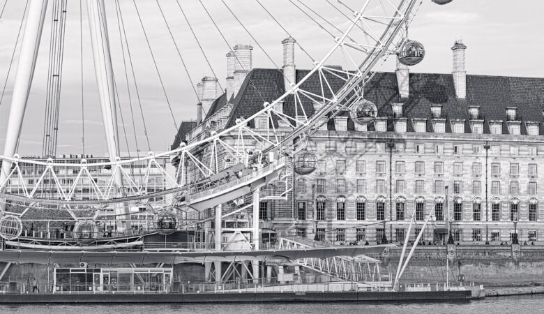 London Eye Panorama Black and White