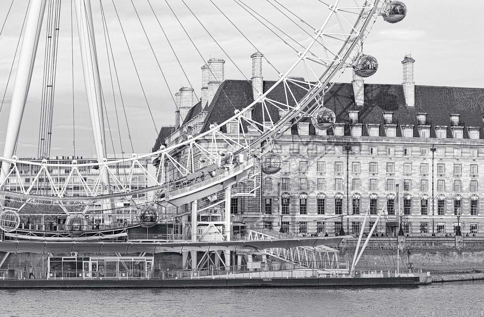 London Eye Panorama in Black and White