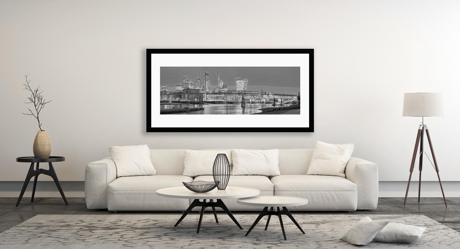 Low Tide at Millennium Bridge - Will Pearson Framed Fine Art Photographic Print in Situ